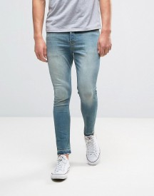 Asos Super Skinny Ankle Grazer Jeans In 12.05oz Mid Blue afbeelding
