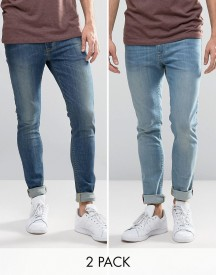 Asos Super Skinny Jeans 2 Pack In Light & Mid Blue Save afbeelding