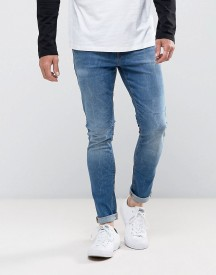 Asos Super Skinny Jeans In 12.5oz Mid Wash Blue afbeelding