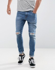 Asos Super Skinny Jeans In 12.5oz Mid Wash Blue With Knee Rips afbeelding