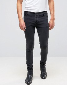 Asos Super Skinny Jeans With Faux Leather Waistband In Washed Black afbeelding