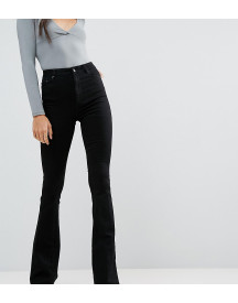 Asos Design Tall Bell Flare Jeans In Clean Black With Pressed Crease afbeelding