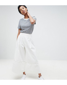 Asos Design Tall Denim Wide Leg Culottes In Off White afbeelding