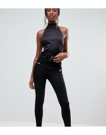 Asos Design Tall Ridley High Waist Skinny Jeans In Black With Biker Zip Detail afbeelding