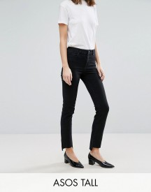 Asos Tall Castile Pencil Straight Leg Jeans In Washed Black With Stepped Hem afbeelding