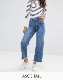 Asos Tall Cropped Wide Leg High Rise Jean With Chewed Hems afbeelding