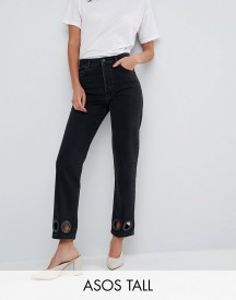 Asos Tall Florence Authentic Straight Leg Jeans In Washed Black With Oversize Rivets afbeelding