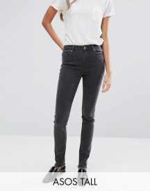 Asos Tall Lisbon Mid Rise Jean In Grey With Zip Back Hem afbeelding