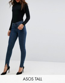 Asos Tall Lisbon Mid Rise Skinny Jeans In Amelie Darkwash With Vent Hem afbeelding