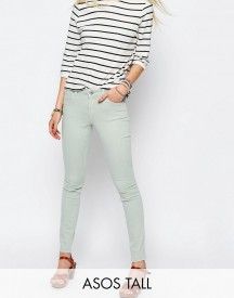 Asos Tall Lisbon Skinny Mid Rise Jean In Pistachio afbeelding