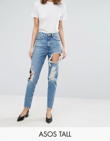 Asos Tall Original Mom Jean In Phoebe Wash With Rips & Stepped Hem afbeelding