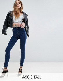 Asos Tall Ridley High Waist Skinny Jeans In Deep Blue Wash afbeelding