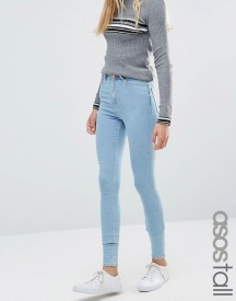 Asos Tall Ridley High Waist Skinny Jeans In Freya Light Stonewash Blue afbeelding