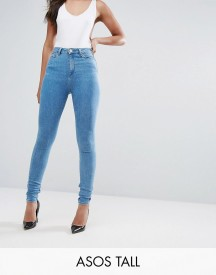 Asos Tall Ridley High Waist Skinny Jeans In Harry Lightwash Blue afbeelding