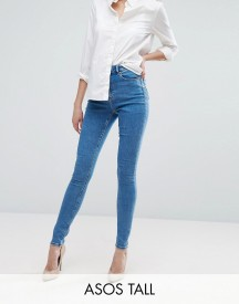 Asos Tall Ridley High Waist Skinny Jeans In Lily Wash afbeelding