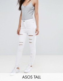 Asos Tall Ridley High Waist Skinny Jeans In Optic White With Shredded Rips afbeelding