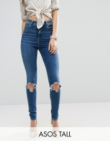 Asos Tall Ridley Skinny Jeans In Roy Dark Stonewash With Busted Knees afbeelding