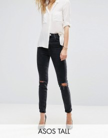 Asos Tall Farleigh High Waist Slim Mom Jeans In Washed Black With Busted Knees afbeelding