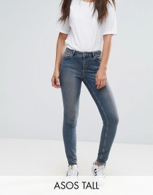 Asos Tall Lisbon Skinny Mid Rise Jeans In Dita Tinted Mid Wash With Reverse Stepped Hem afbeelding