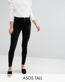 Asos Tall Ridley High Waist Skinny Jeans In Clean Black afbeelding
