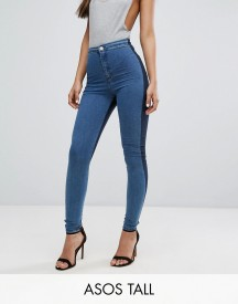 Asos Tall Rivington High Waisted Denim Jegging In Two Tone Blues afbeelding