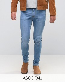 Asos Tall Super Skinny Jeans In Light Wash afbeelding