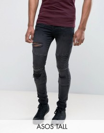 Asos Tall Super Skinny Jeans With Abrasions In Biker Style afbeelding