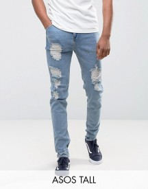 Asos Tall Tapered Jeans In Vintage Light Wash Blue With Heavy Rips afbeelding