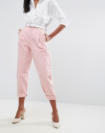 Asos Tapered Jeans With Curved Seams And Belt In Pink afbeelding
