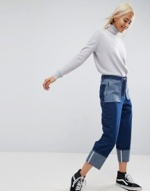Asos White Contrast Wash Turn Up Jeans afbeelding