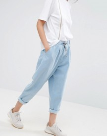 Asos White Denim Jean With Tie Waistband In Lightblue Wash afbeelding