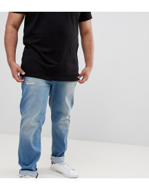 Badrhino Big Slim Fit Stretch Jean In Mid Blue With Rip & Repair afbeelding