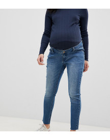 Bandia Maternity Over The Bump Ankle Graser Skinny Jean With Raw Hem And Removable Bump Band afbeelding