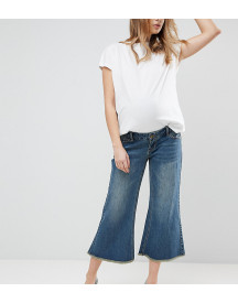 Bandia Maternity Over The Bump Raw Hem Wide Leg Jean With Removable Bump Band afbeelding