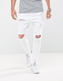 Bershka Skinny Carrot Fit Jeans With Rips In White afbeelding