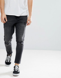 Bershka Skinny Tapered Jeans In Washed Black afbeelding