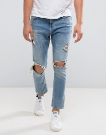 Bershka Skinny Tapered Jeans With Rips In Mid Wash afbeelding