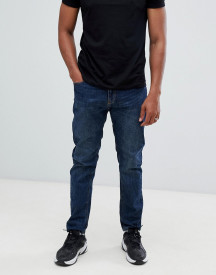 Bershka Straight Fit Jeans In Dark Blue afbeelding