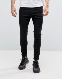 Bershka Super Skinny Jeans In Black Wash afbeelding