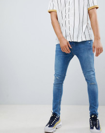 Bershka Super Skinny Jeans In Blue With Knee Rips afbeelding