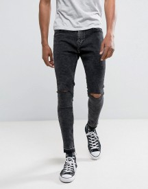 Bershka Super Skinny Jeans In Washed Black With Knee Rip afbeelding