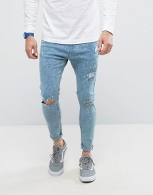 Bershka Super Skinny Jeans With Knee Rips In Bleached Blue afbeelding