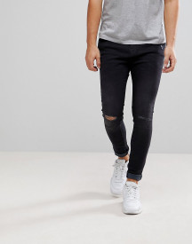 Bershka Super Skinny Jeans With Rips In Black afbeelding