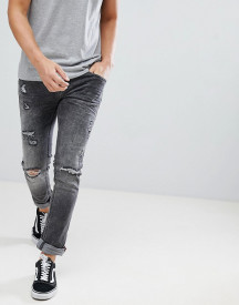 Blend Cirrus Distressed Skinny Jeans In Grey afbeelding
