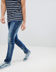 Blend Cirrus Distressed Skinny Jeans In Mid Wash Blue afbeelding
