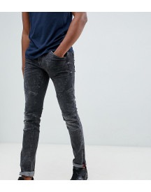 Blend Tall Skinny Biker Jeans In Washed Black afbeelding