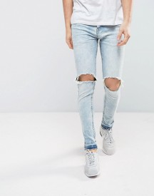 Brave Soul Light Wash Skinny Raw Hem Jeans afbeelding