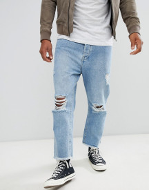 Brave Soul Loose Fit Cropped Ripped Jeans afbeelding