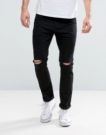 Brave Soul Skinny Black Jeans With Knee Rips afbeelding