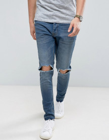 Brave Soul Skinny Fit Raw Hem Distressed Jeans afbeelding